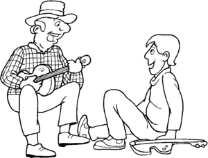 Guitarist And Boy coloring page