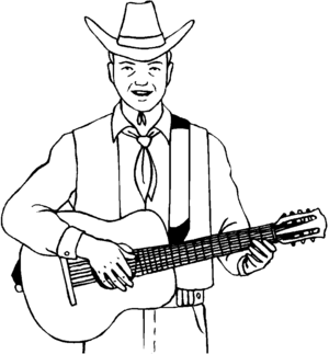 Guitarist In Cowboy Hat coloring page