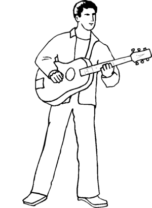 Guitarist Man coloring page