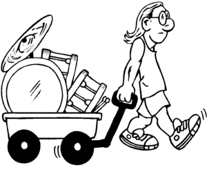 Guy With Wheelbarrow Of Drums coloring page