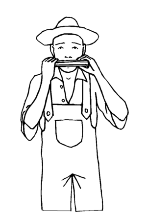 Harmonica Player coloring page
