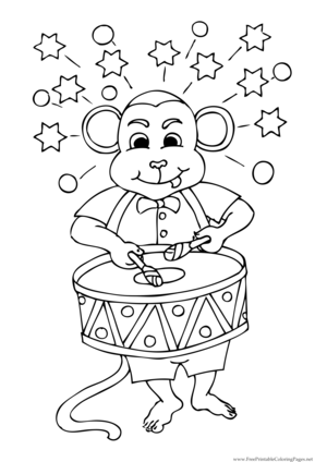 Monkey Drummer coloring page