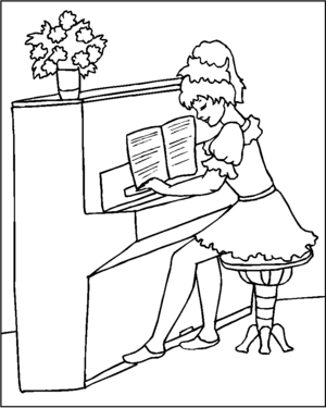 Pianist Girl coloring page