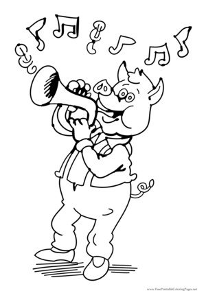 Pig Plays Horn coloring page