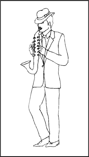Saxophonist In Hat coloring page
