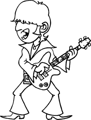 Singing Rock Guitarist coloring page