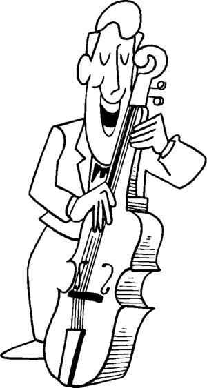 Smiling Guy Playing At Bass coloring page