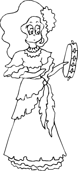 Tambourine Player coloring page