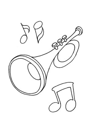 Trumpet And Notes coloring page