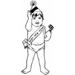 New Year Baby coloring page