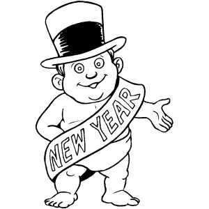 baby new year coloring pages free | New Year Baby In Hat Coloring Page