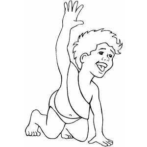 New Year Baby Waves Hello coloring page
