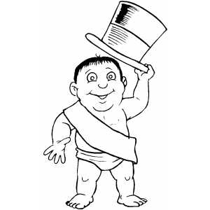 New Years Baby Welcomes You coloring page