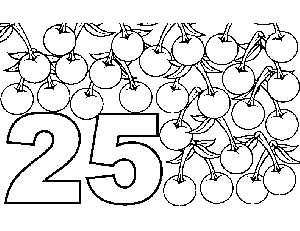 25 Cherries coloring page
