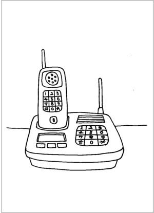 Cordless Telephone And Stand coloring page