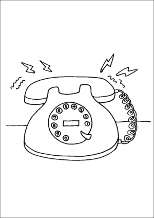 Rotary Telephone Ringing coloring page