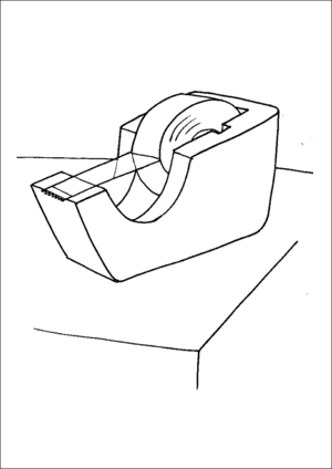 Tape Dispenser On Table coloring page