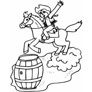 Barrel Racing coloring page