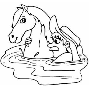 Cowboy And Horse Swimming coloring page