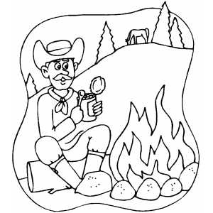 Cowboy Eating coloring page