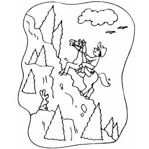 Cowboy On Mountain coloring page