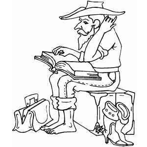 Cowboy With Book coloring page