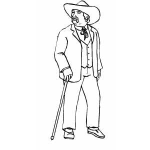 Man With Cane coloring page