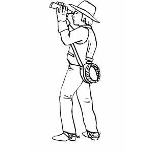 Man With Telescope coloring page