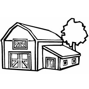 Barn With Tree Coloring Page