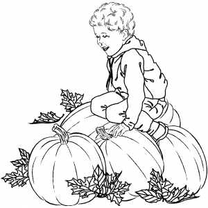 Boy Sitting On Pumpkins coloring page