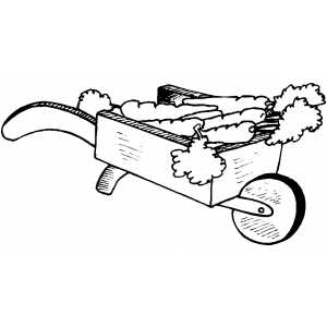 Carrots In Wheelbarrow coloring page