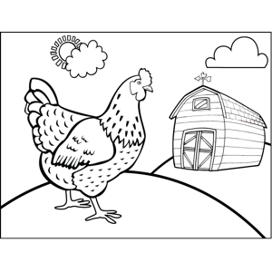 Chicken on Farm coloring page