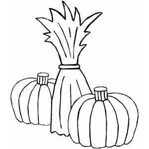 Cornstalk And Two Pumpkins coloring page