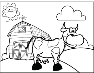 Cow on a Farm coloring page