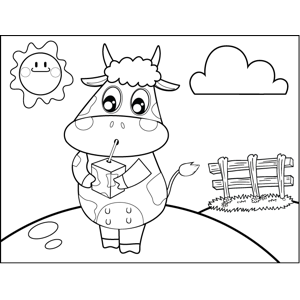 Cow with Juice Box coloring page