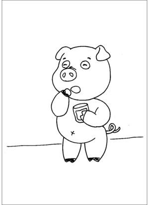 Cute Pig Eating Snacks coloring page