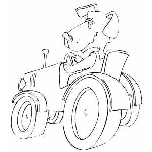 Dog Driving Tractor coloring page