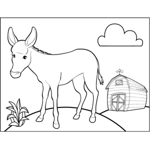 Donkey by Barn coloring page