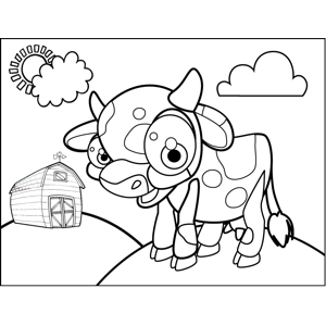 Excited Cow coloring page