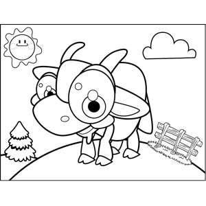 Excited Goat coloring page