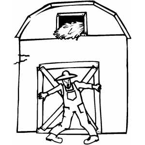 Farmer And Barn coloring page