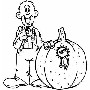 Farmer With Prize Pumpkin coloring page