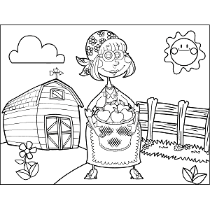 Farmer with Apples coloring page