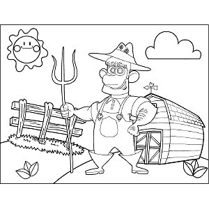 Farmer with Pitchfork coloring page