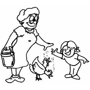 Feeding Chickens coloring page
