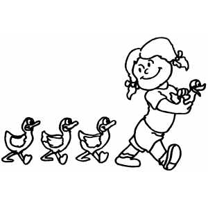 Girl Leading Ducks coloring page