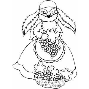Gypsy Rabbit Gathering Grapes coloring page