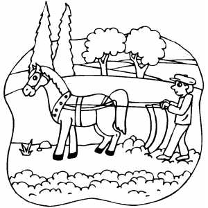 Horsedrawn Plow coloring page