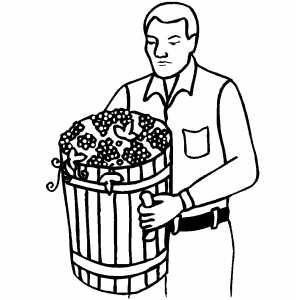 Man Carrying Grapes coloring page