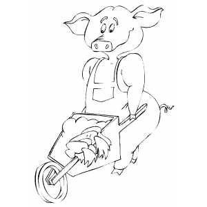 Pig With Wheelbarrow coloring page
